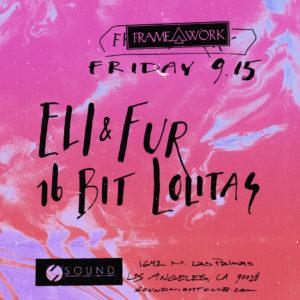 Framework presents Eli & Fur 16 Bit Lolitas at Sound Nightclub 2017 suminagashi flyer design