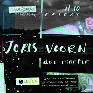 Framework presents Joris Voorn and Doc Martin at Sound Nightclub November 2017 flyer design suminagashi