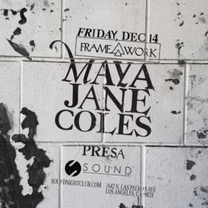 Maya Jane Coles Presa Sound Nightclub December 2018