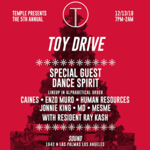 Temple Toy Drive Sound Nightclub Dance Spirit